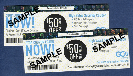Coupon with CIC Hologram